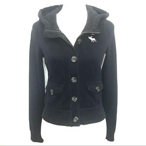 Abercrombie & Fitch navy button zip hoodie jacket